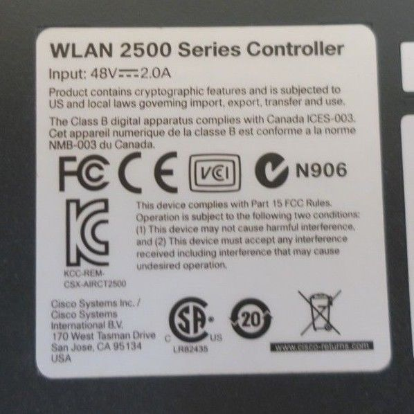 Cisco AIR-CT2504-15-K9 2500 Series 4-Port Wireless Controller With
